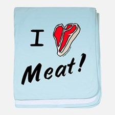 I heart meat, steak, paleo, low carb baby blanket