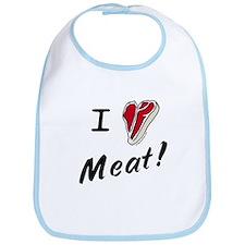 I heart meat, steak, paleo, low carb Bib