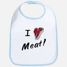 I heart meat, steak, paleo, low carb Bib