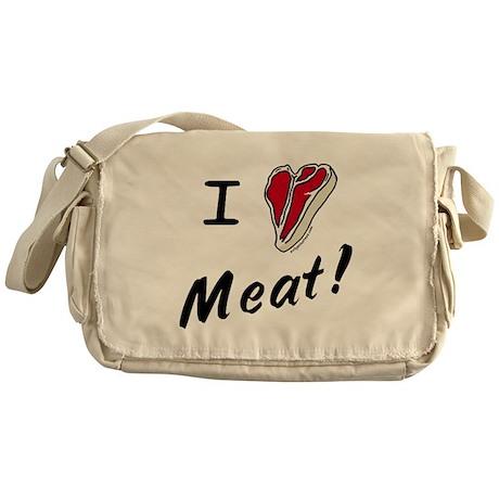 I heart meat, steak, paleo, low carb Messenger Bag