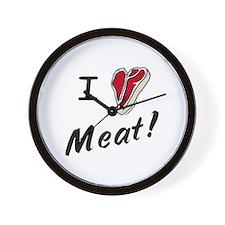 I heart meat, steak, paleo, low carb Wall Clock