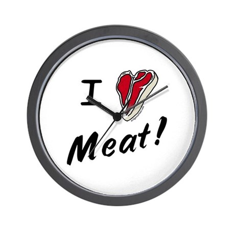 I heart meat, steak, paleo, low carb Wall Clock