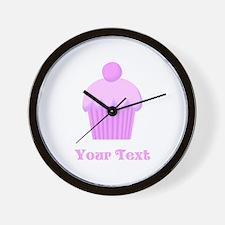 Pink Cupcake with Custom Text Wall Clock