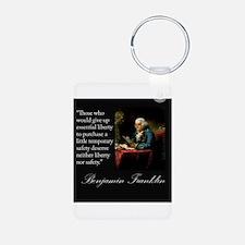 Ben Franklin Quote Portrait Keychains