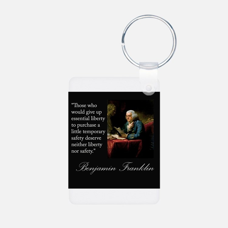 Ben Franklin Quote Portrait Keychains