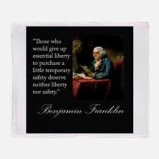 Ben Franklin Quote Portrait Throw Blanket