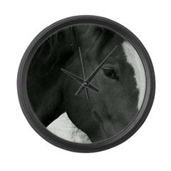 bLACK AND WHITE pHILLY Large Wall Clock