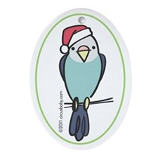 Blue Parakeet Santa Ornament (Oval)