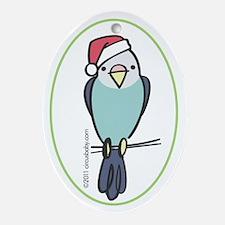 Blue Parakeet Santa Ornament (Oval)