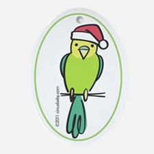 Yellow/Green Parakeet Santa Ornament (Oval)