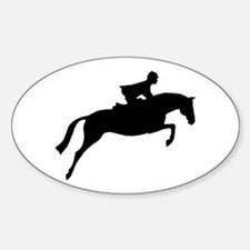 h/j horse & rider Oval Decal