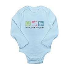 Peace, Love, Frenchies Long Sleeve Infant Bodysuit