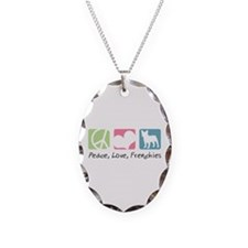 Peace, Love, Frenchies Necklace Oval Charm