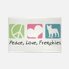 Peace, Love, Frenchies Rectangle Magnet