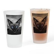 Siamese Cat B&W Photo Art Drinking Glass
