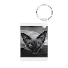 Siamese Cat B&W Photo Art Keychains