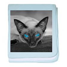 Siamese Cat B&W Photo Art baby blanket
