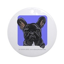Black French Bulldog Lover Ornament (Round)
