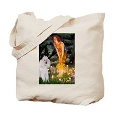 Mid Eve White Poodle Tote Bag