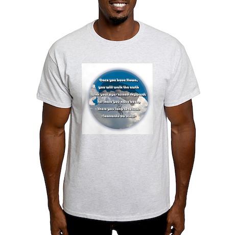 """Leonardo Quote - Skydiving"" Ash Grey T-Shirt"