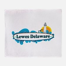 Lewes Beach DE - Surf Design Throw Blanket