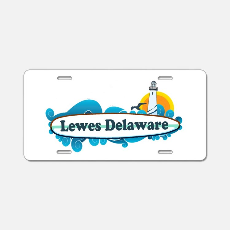 Lewes Beach DE - Surf Design Aluminum License Plat