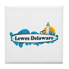 Lewes Beach DE - Surf Design Tile Coaster