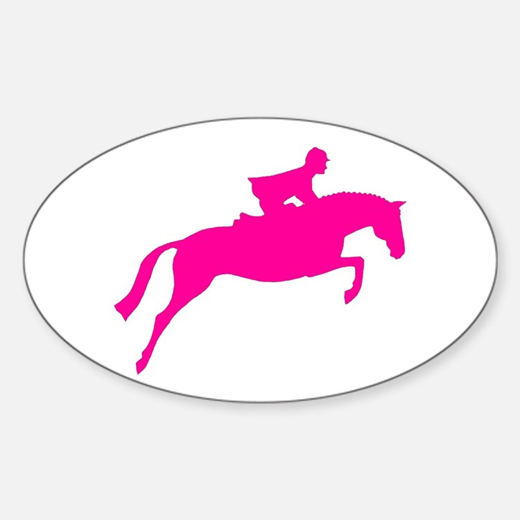 h/j horse & rider pink Oval Decal