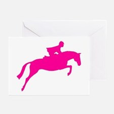 h/j horse & rider pink Greeting Cards (Package of
