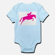 h/j horse & rider pink Infant Creeper