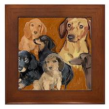 dachshund mural Framed Tile