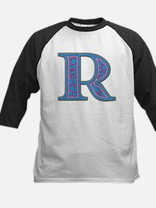 R Blue Glass Kids Baseball Jersey
