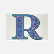 R Blue Glass Rectangle Magnet