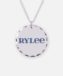 Rylee Blue Glass Necklace Circle Charm