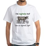 Cows are vegetarian, right? White T-Shirt