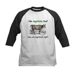 Cows are vegetarian, right? Kids Baseball Jersey