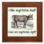 Cows are vegetarian, right? Framed Tile