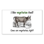 Cows are vegetarian, right? Sticker (Rectangle)