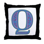 Q Blue Glass Throw Pillow