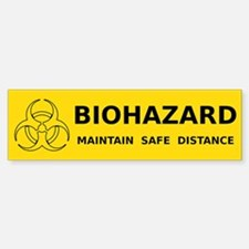 Biohazard Warning (yellow) Bumper Bumper Sticker