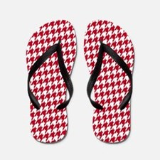 Crimson & White Houndstooth Flip Flops