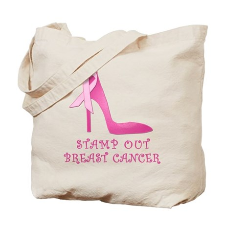 Pink Stiletto Stamp Out Breast Cancer Tote Bag