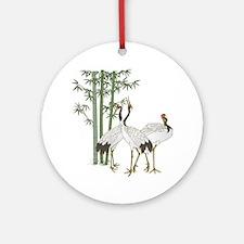 Crane & bamboo Ornament (Round)