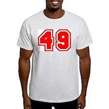 Varsity Uniform Number 49 (Red) Ash Grey T-Shirt