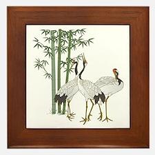 Crane & bamboo Framed Tile
