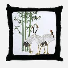 Crane & bamboo Throw Pillow
