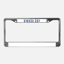 Philip Blue Glass License Plate Frame
