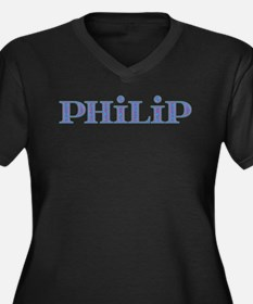 Philip Blue Glass Women's Plus Size V-Neck Dark T-