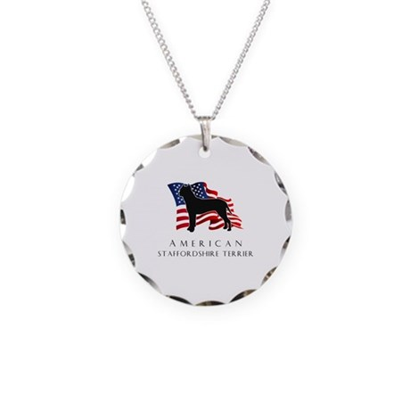 """American"" Staffordshire Necklace Circle Charm"
