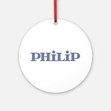 Philip Blue Glass Round Ornament